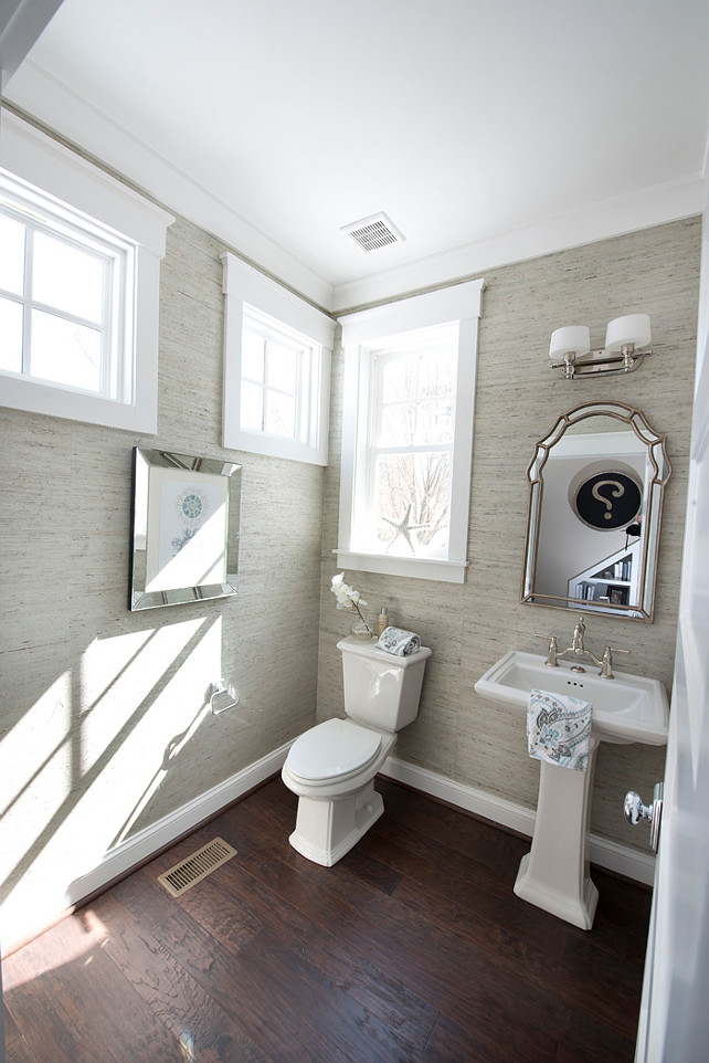 Powder room. Powder room windows. Powder room wallpaper. Powder room grasscloth wallpaper. Vintage Inspired Mirror. #PowderRoom
