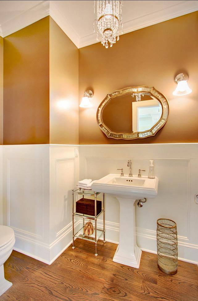 Powder Room Ideas. Great powder room design. The mirror is the Etched Mirror by Rejuvenation. #PowderRoom #PowderRoomIdeas