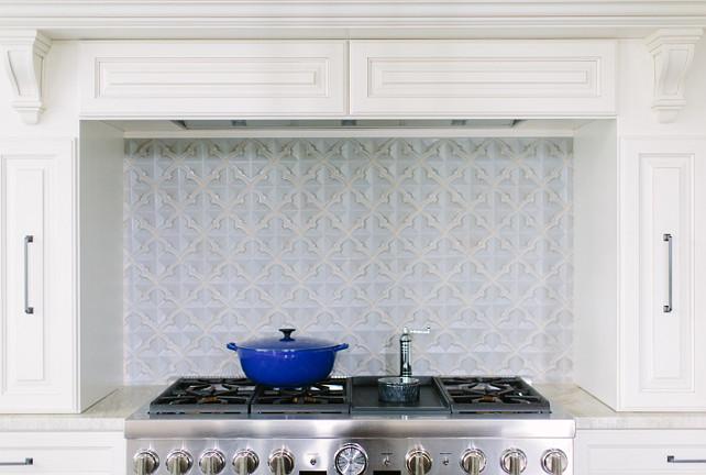 Range Backsplash. Off-white kitchen canbinet with blue range backsplash. #Kitchen #Backsplash #BlueBacksplash  Kate Marker Interiors.