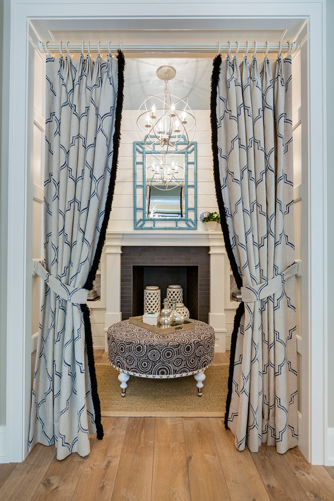 Reading Nook. Reading Nook with shiplap walls, fireplace with Blue Bungalow 5 Chloe Mirror and Orb Chandelier by Crystorama. #ReadingNook Great Neighborhood Homes.
