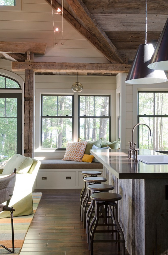 Reclaimed Kitchen Island. Reclaimed Wood Kitchen Island. Reclaimed Plank Kitchen Island. Reclaimed Kitchen Island Ideas. #Reclaimed #KitchenIsland Kristina Crestin Design.