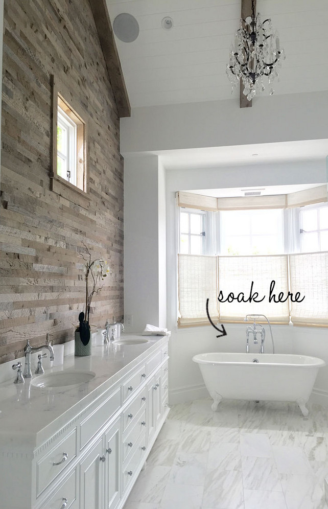 Reclaimed Wood Wall Bathroom. Transitional bathroom with Reclaimed Wood Wall. #ReclaimedWoodWall #Bathroom Blackband Design.