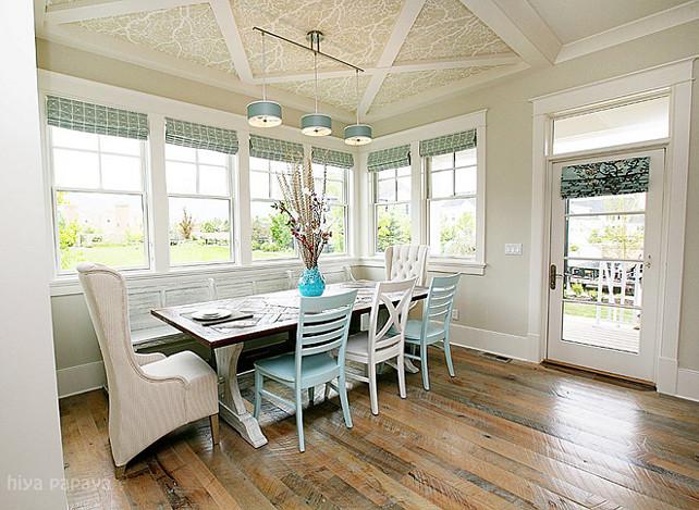 Reclaimed hardwood floor ideas. Eating Nook with reclaimed hardwood floors. #ReclaimedHardwood #ReclaimedFloors