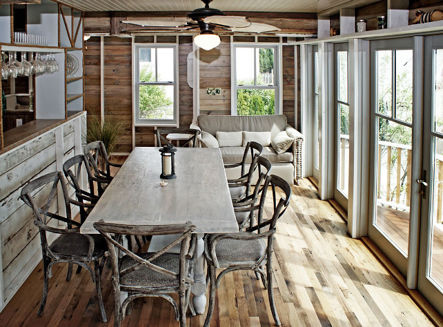 Reclaimed wood dining room. #ReclaimedWood #DiningRoom OUTinDesign.
