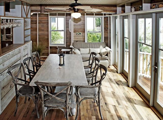Reclaimed wood dining room. #ReclaimedWood #DiningRoom OUTinDesign.