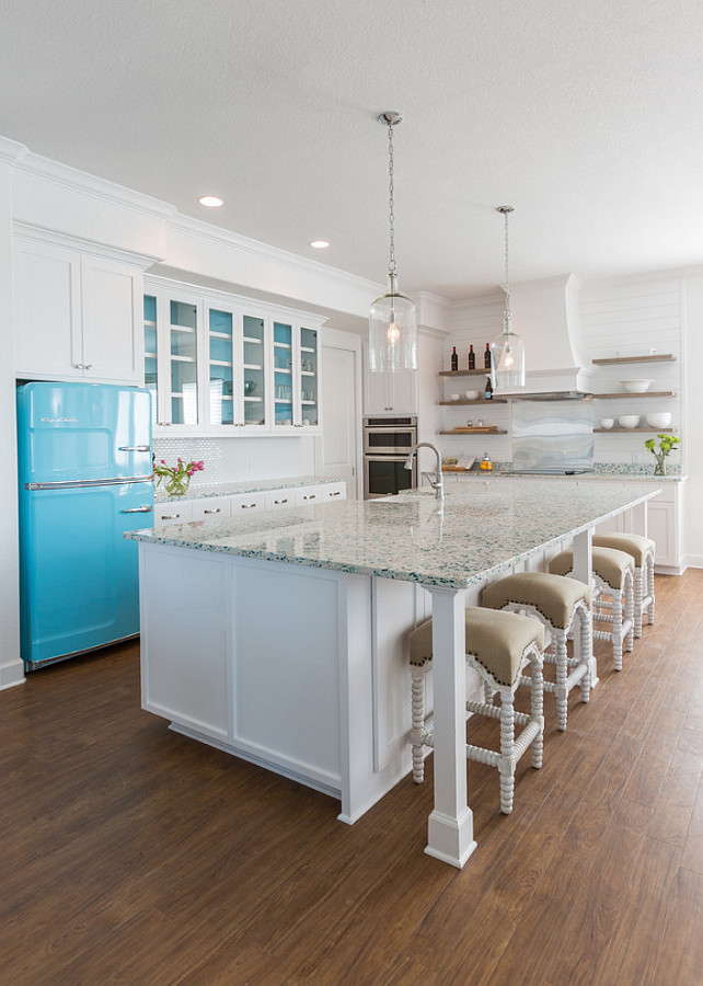 Recycled glass Countertop. Kitchen Countertop. The countertop is recycled glass - a very durable material and perfect for kitchen islands. #Recycledglass #Countertop Laura U, Inc.
