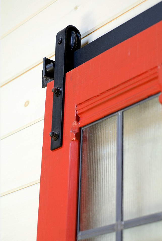 Red Vintage door. Barn door hardware. Kristina Crestin Design.