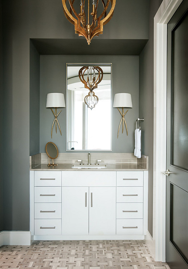 Gray Bathroom. Great Gray Bathroom! #Bathroom #Gray #Interiors #HomeDecor