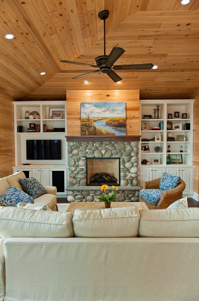 River Rock Fireplace. River Rock Living Room Fireplace. #RiverRockFireplace #RiverRock #FireplaceBlue Sky Building Company.