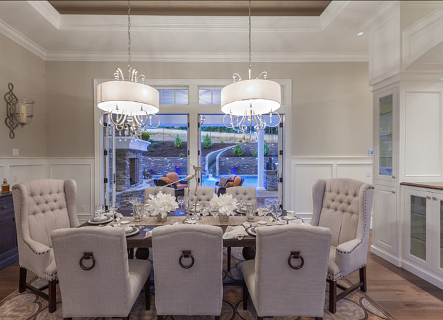 Dining Room. Dining Room Design. Classy dining room open to kitchen.