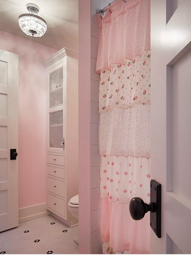 Ruffle Shower Curtain. Kids Ruffle Shower Curtain. Kids Bathroom Ruffle Shower Curtain. #RuffleShowerCurtain Martha O'Hara Interiors.