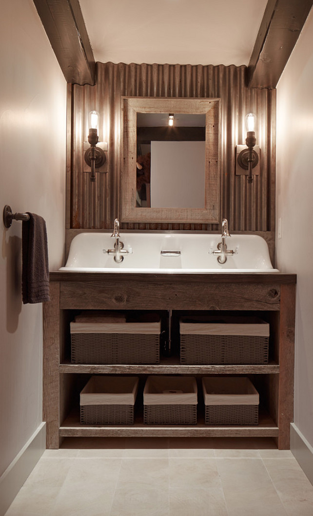 Rustic Bathroom. Rustic Bathroom Cabinet. Rustic Bathroom with reclaimed wood Cabinet. #RusticBathroom #RusticBathroomCabinet #ReclaimedWoodcabinet #Bathroom Artistic Designs for Living.