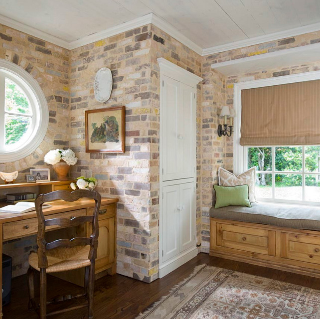 Rustic Interiors. Rustic room with reclaimed brick. #RusticInteriors #ReclaimedBrick Katie Emmons Design.