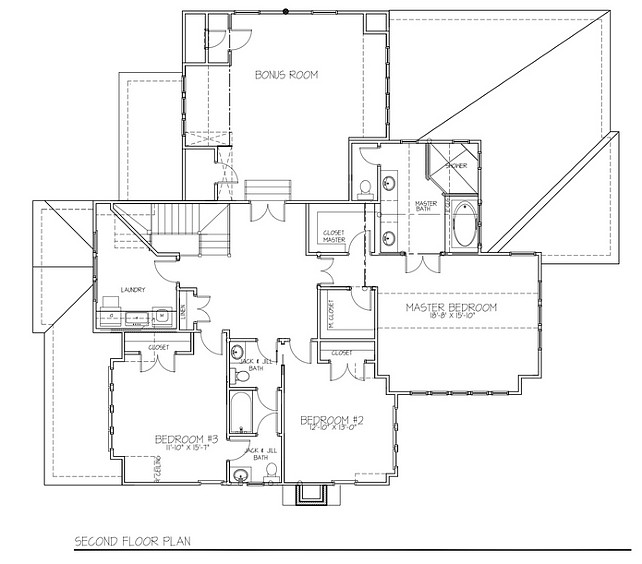 Scond Floor Floor Plan. Second floor floor plan with three bedrooms, upstairs laundry room and bonus room. #Floorplan #SecondFloor