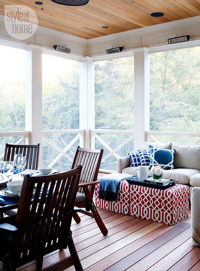 Coastal muskoka living interior design ideas home bunch for Screened in porch decor