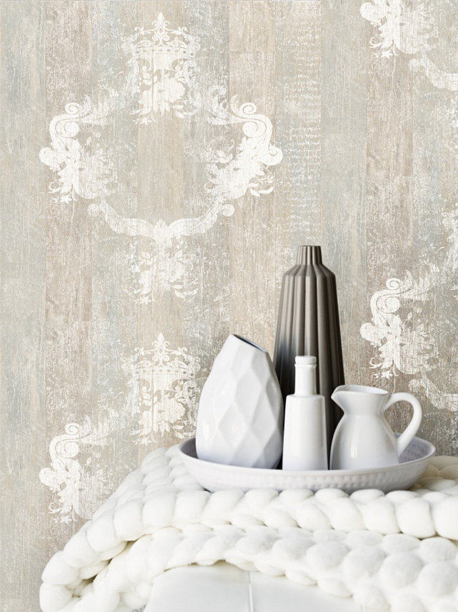 Serenity Sand Faux Wood Damask Overlay Wallpaper #FauxWood #fauxBois #Damask #Overlay #Wallpaper