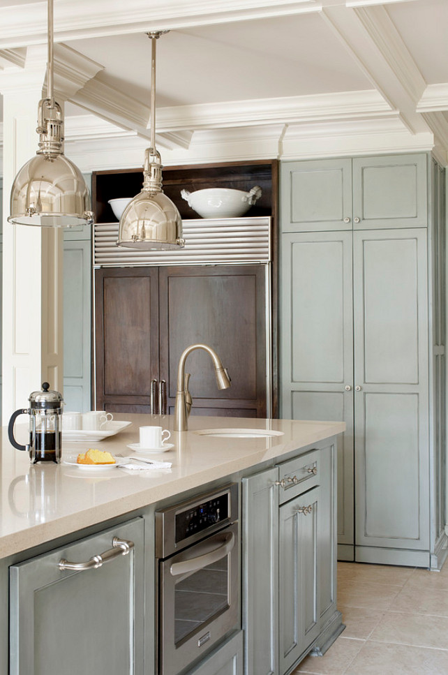 Top Kitchen Cabinet and Island Paint Color Pin. Sherwin Williams Chatroom SW6171. Sherwin Williams Chatroom SW6171 #SherwinWilliamsChatroomSW6171 #SherwinWilliamsKitchenPaint