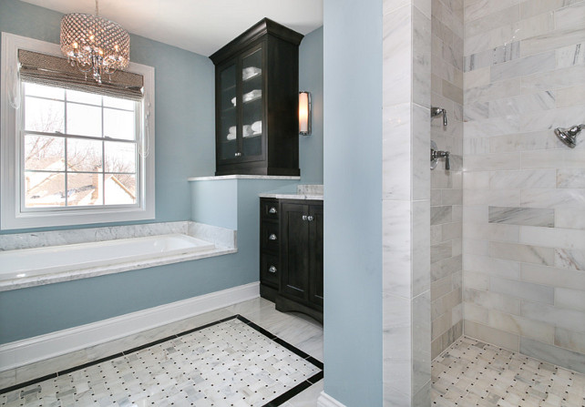 Sherwin Williams SW6219 Rain. Blue Bathroom Paint Color. Sherwin Williams SW6219 Rain. #SherwinWilliams #SW6219 #Rain #SherwinWilliamsRain #BlueBathroom #PaintColor   Redstart Construction.