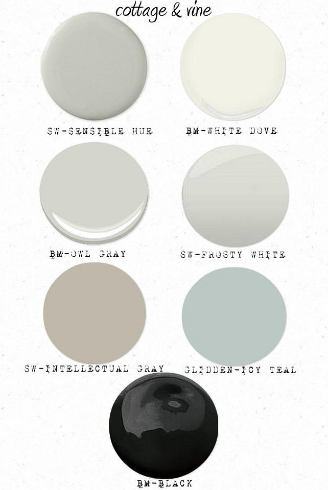 Sherwin Williams Sensible Blue Benjamin Moore White Dove Gray Owl