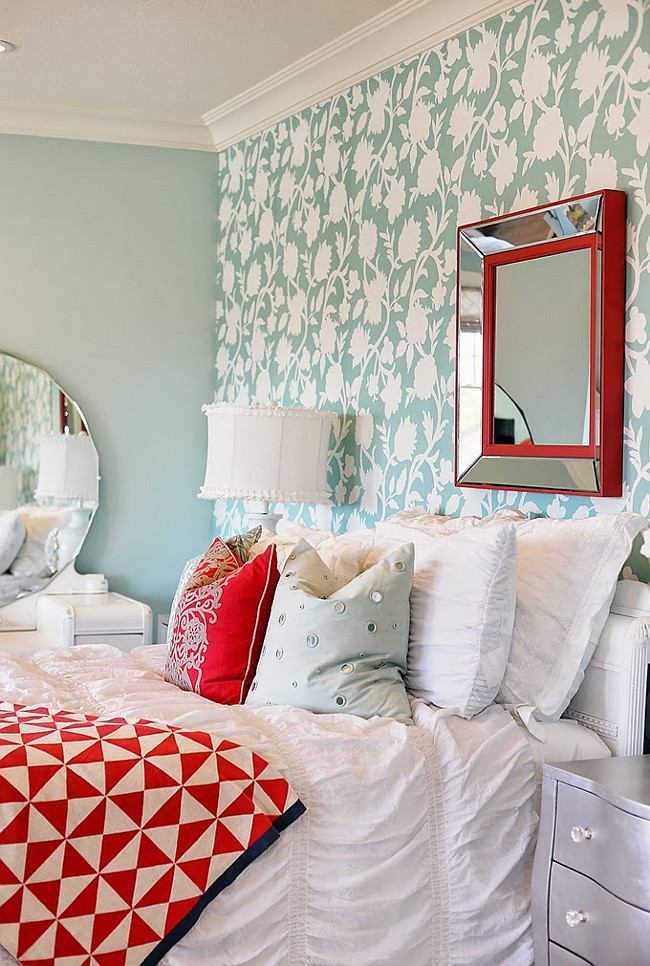 Sherwin-Williams Tidewater SW 6477 Paint Color. Cambria Wallpaper Aqua from Four Chairs Furniture.