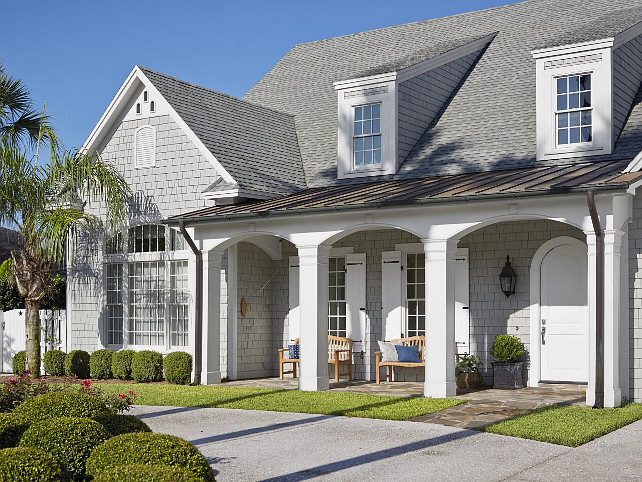 Shingle Home. Gray Shingle Home with front porch. #ShingleHomes #GrayShinglePaintColor #ShinglePaintColor #ShingleHomeIdeas #FrontPorch #porch Via HGTV.