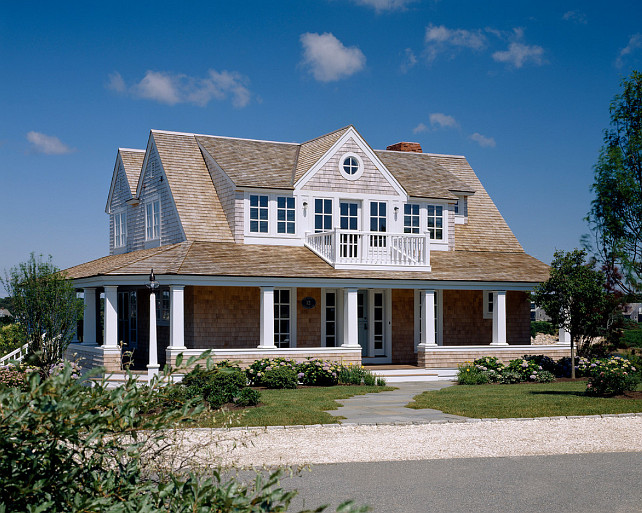 Shingle home with wrap around porch. Wrap around porch single house. Polhemus Savery DaSilva.