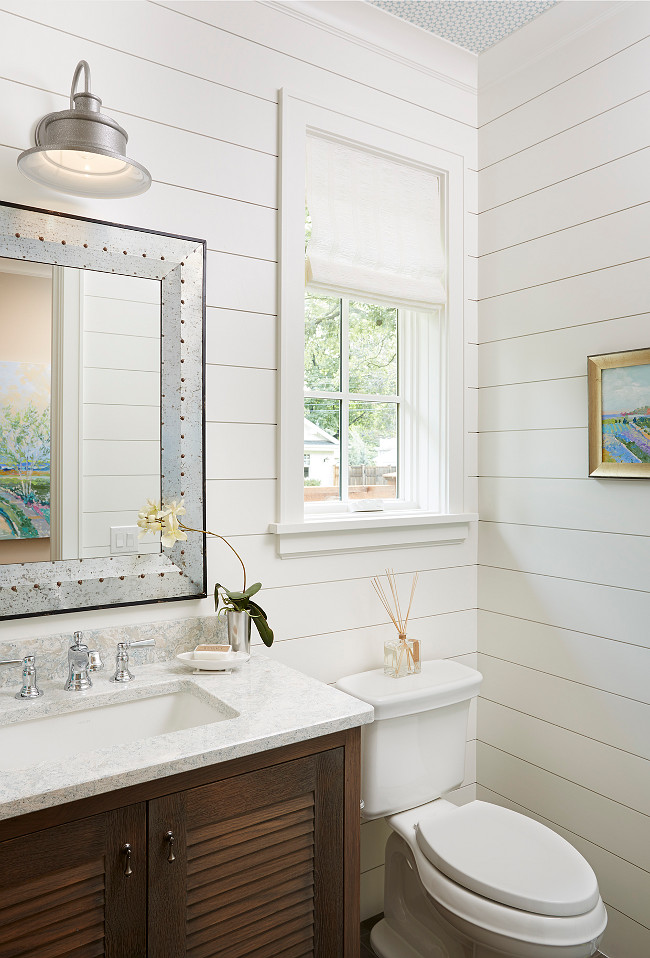 Shiplap Bathroom painted in White Dove OC-17 by Benjamin Moore. Shiplap boards are painted in Benjamin Moore White Dove. The countertop is quartz- Montgomery by Cambria. Michele Skinner.