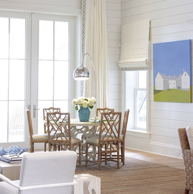 Shiplap Beach House. Beach house with Shiplap walls. #Shiplap #Beachhouse Collins Interiors.