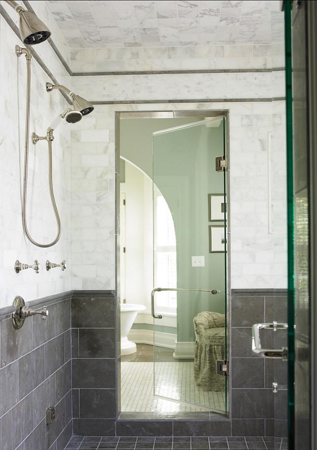 Shower Design Ideas. Shower Tiling Ideas. The white tile is Calcutta Gold marble and the gray tiles are Lagos Azul, Nova Blue. #Bathroom #ShowerIdeas #Shoertiles #TileIdeas