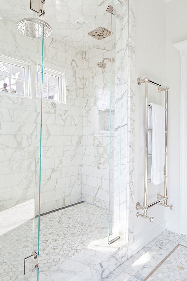 Shower Design. Bathroom shower layout. Shower Tiling. Marble Shower Tiles. Shower Glass Door. Shower Hardware. #Shower #Bathroom Anthony Crisafulli Photography.