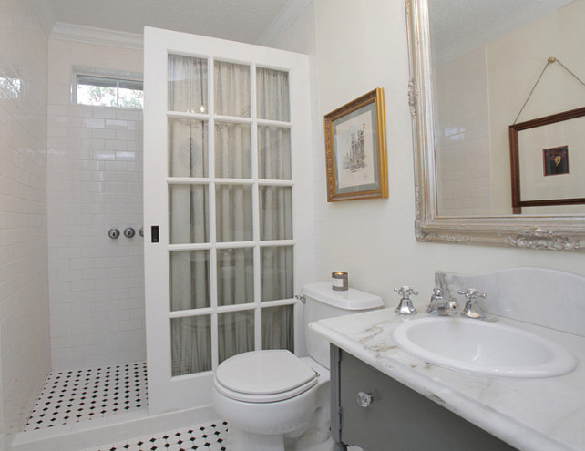 "Shower Door Ideas. The shower is a standard 5 ft x 30"" opening,...the same dimensions you would have for a standard bath tub. The French door I used is 36"" wide and 79"" height. This size door allows you enough room to walk through and keeps most of water in the shower....I used a rain shower head to direct the water straight down. The room is essentially a wet room so any water that gets out we just wipe it up. #Shower #Door #ShowerDoor Lindsay von Hagel."