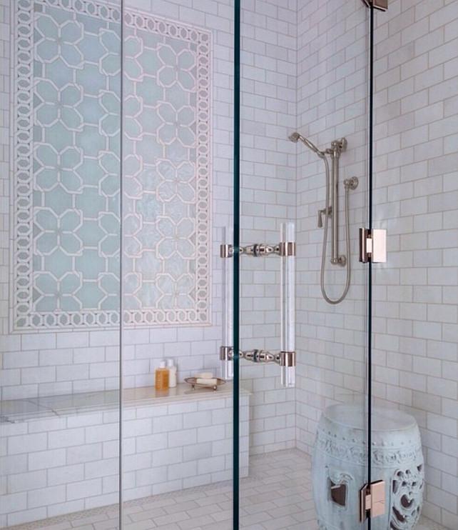 Shower Tiling Design. New Shower Tile Design Ideas. The Shower Tiles are from Ann Sacks. Shower tiling with garden stool in the shower. #ShowerTiling #AnnSacks Collins Interiors