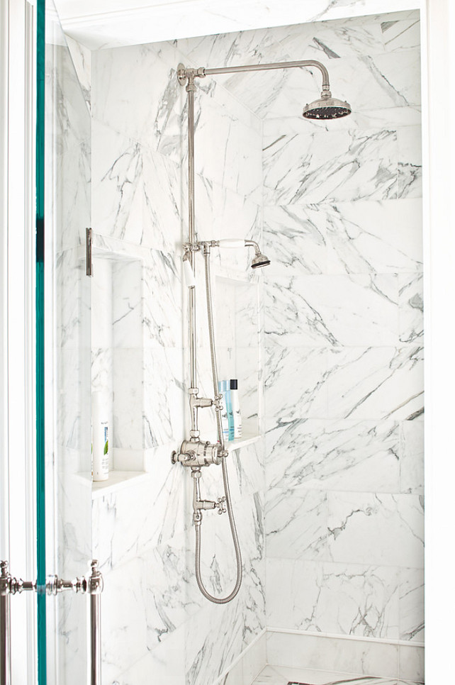 Shower Tiling Ideas. Shower Design. Shower with marble tiles. #Shower #Bathroom #ShowerTiling #ShowerIdeas Alisberg Parker Architects.