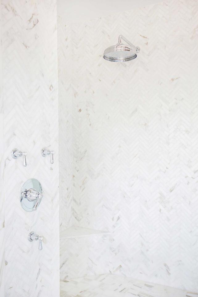 Shower Tiling. Bathroom shower tiling. The shower tiling is marble set in a herringbone pattern. #Shower #Bathroom #Tiling #Herringbone #Marble #ShowerTiling Blackband Design.