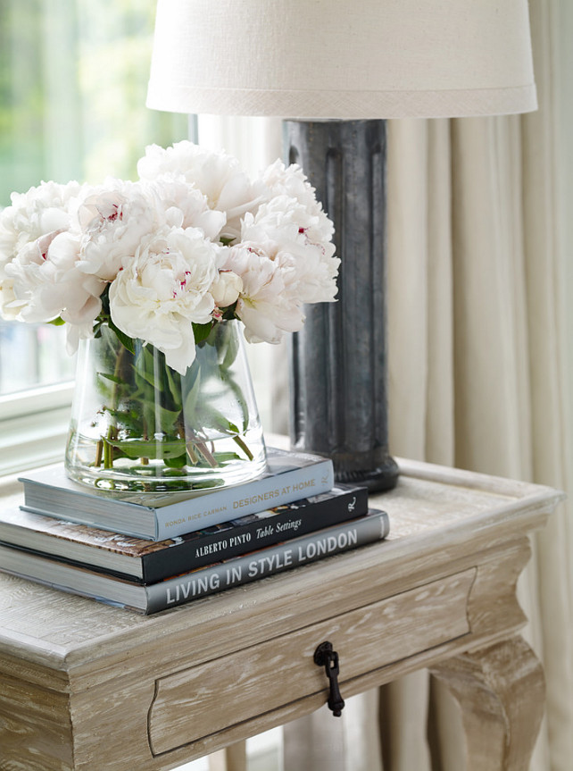 Side Table Decor Ideas. How decorate side table or bedroom nightstand. #SideTableDecor Interior Design by Beth Webb Interiors.