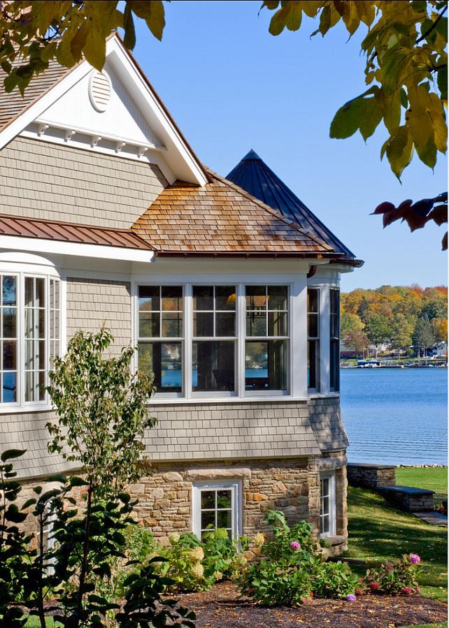 Exterior Home Ideas. The exterior of this home is a mix of cedar shingles and stone. #Exterior #Homes #ExteriorIdeas