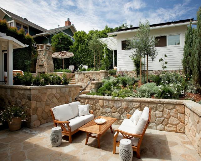 Sloped Backyard. Sloped backyard divided into different levels. #SlopedBackyard Via Sotheby's Homes.