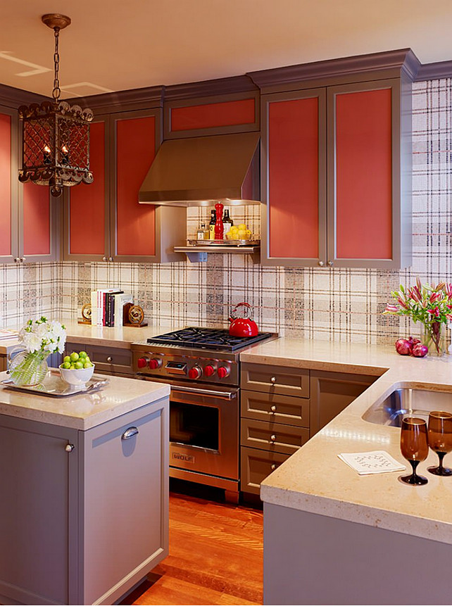Small Kitchen. Small NY Kitchen. NY Style Kitchen. Apartment Kitchen. Painted kitchen Frame and panel cabinets, gray kitchen, lantern, painted cabinets, plaid wallpaper, plaid mosaic tiles, red kitchen, small kitchen layout, wood floor Jay Jeffers Home.