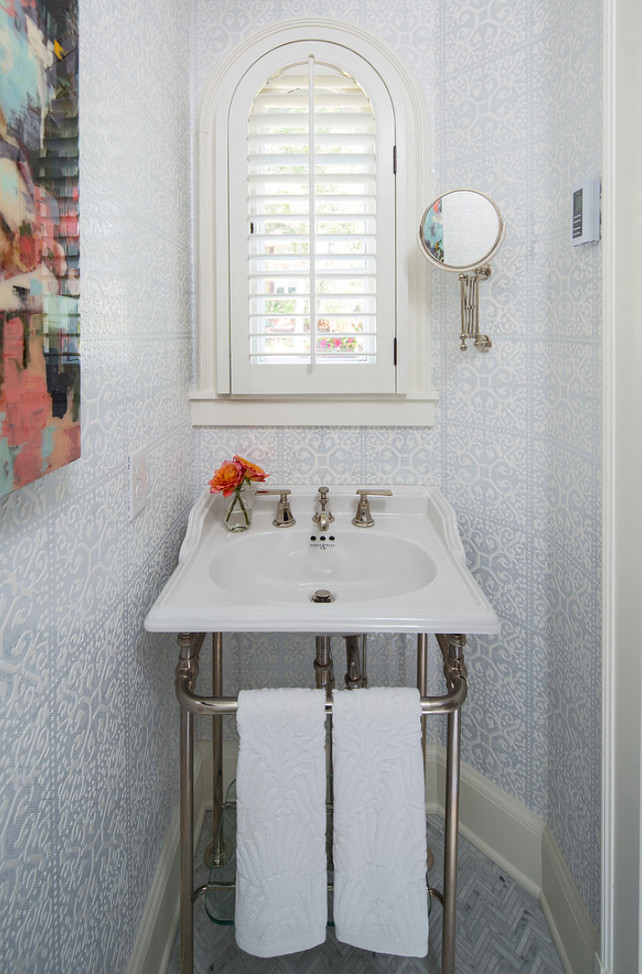 Small Powder Room. Small powder room with Rohl sink. Small Powder Room with Phillip Jeffries Wall Covering. #SmallSpaces #PowderRoom Martha O'Hara Interiors.
