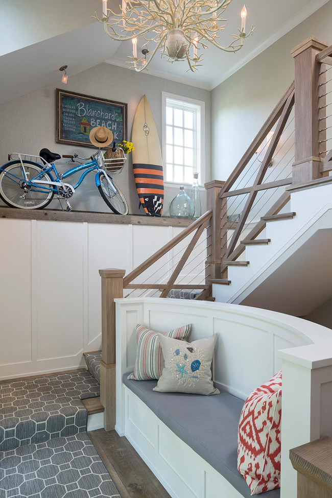 Staircase Bench. Staircase Bench Ideas. Staircase with Bench and Currey and Company - Chandeliers Seaward Chandelier. Pillow fabrics are by Schumacher. The girls of the house use often the stairway bench to watch for their carpool pick-up every morning.