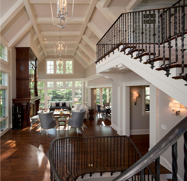 Staircase Ideas. Grand Staircase design.Inspiring custom staircase with wrought iron railing and posts. #Staircase
