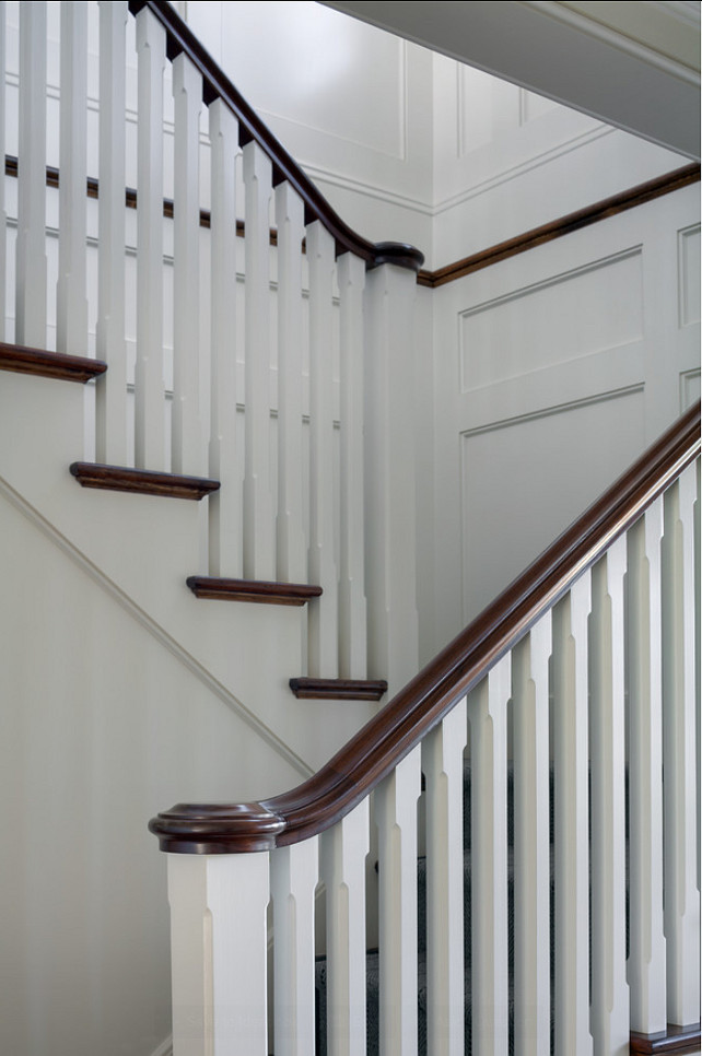 Staircase Millwork Ideas. Classic Staircase Millwork Ideas to keep in mind. This panel moulding is by Anderson McQuaid. Paint Color is 50% China White, 50% Linen White by Benjamin Moore. #Millwork #Moulding #PanelledWalls #Panelling #Staircase