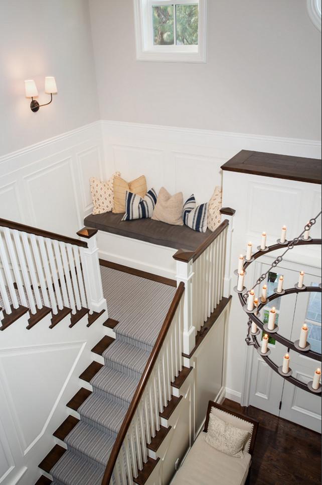 Staircase seat. Staircase built-in seat. Staircase reading nook. #Staircase #Seating #ReadingNook Legacy Custom Homes, Inc.