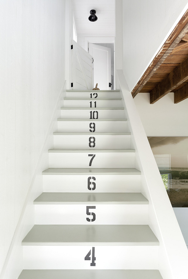 Staircase with Numbered Steps. Staircase accentuated with painted numbers with stencils. #NumberedSteps #Stairs #Stencils Jenny Wolf Interiors