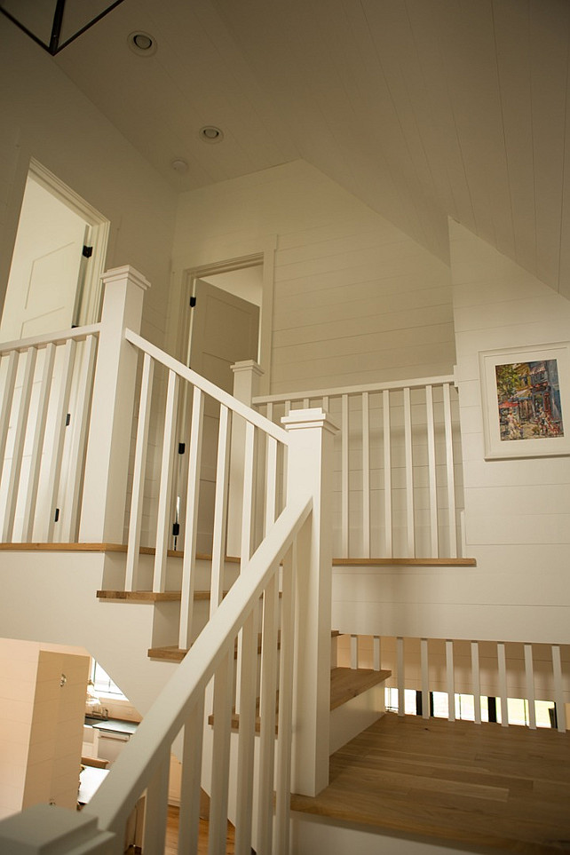 Staircase with shiplap wall. Staircase with white shiplap wall. #Staircase #White #Shiplap #Walls #ShiplapWall Hahn Builders.