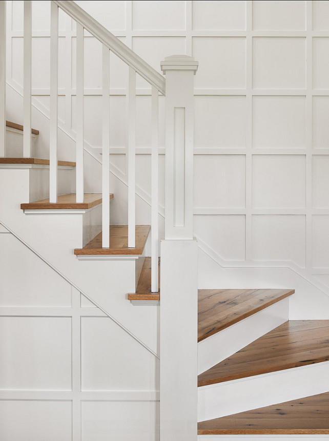 Staircase. Staircase Ideas. Simple staircase with timeless design. Floors are reclaimed white oak, rift and quartered, with a catalyzed waterborne urethane finish. #Staircase #Millwork