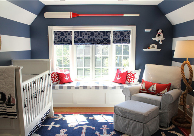 Coastal Themed Nursery. Beautiful Coastal Themed Nursery. Paint Color: Benjamin Moore Newburyport Blue for the stripes and flat wall color. #Benjamin Moore #NewburyportBlue