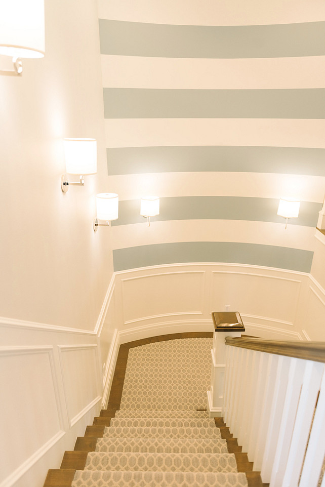 Striped Wall Paint Color. Stairway (striped) - Silken Blue CSP-670 & White Dove OC-17 Benjamin Moore. Four Chairs Furniture. Striped Wall Paint Combination.
