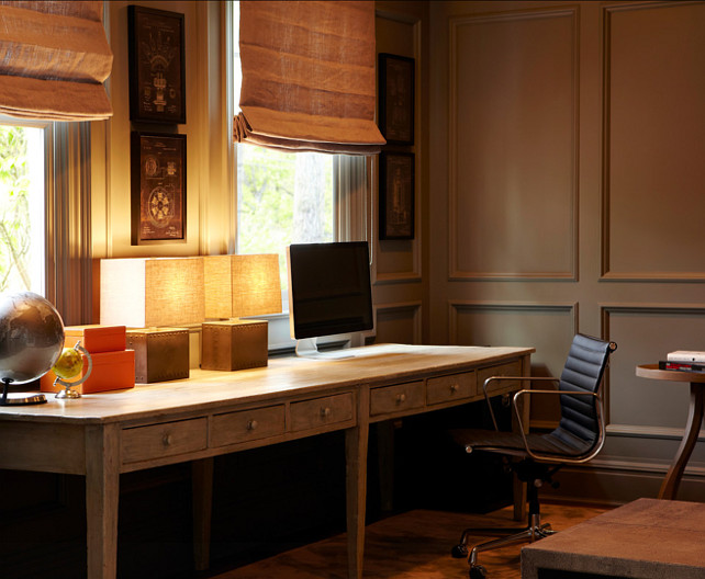 Study Library. A 12' wide vintage American schoolhouse table from the 1920's is used as the desk in this room. #Study #Library