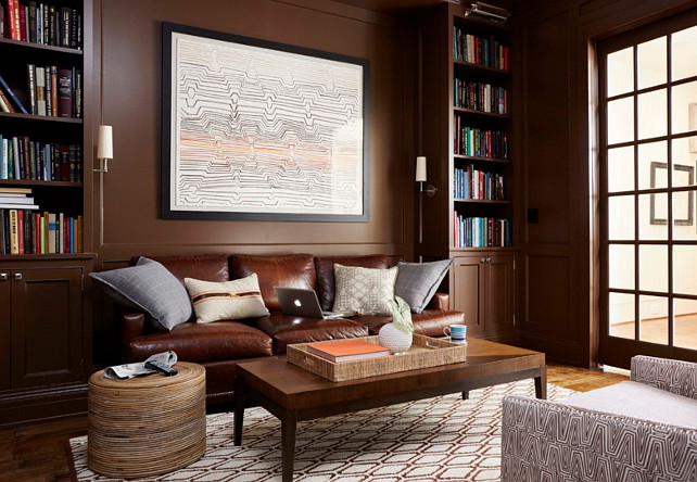 Study. Wall Paneled study. Study with paneled walls and leather couch. The leather sofa from Hickory Chair. #Study #PaneledWalls